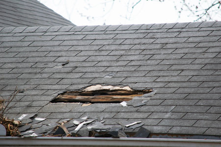 Damaged roof shingles in Fredericton, NB. Call us today to get a quote